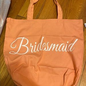Coral bridesmaid tote bag